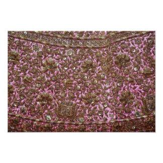 Gesticktes rosa Gewebe Neu-Delhi Indien Kunstfoto