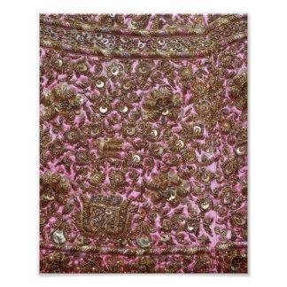 Gesticktes rosa Gewebe Neu-Delhi Indien Photodruck