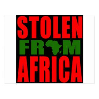 Gestohlen von Afrika - rote schwarze und grüne Postkarte