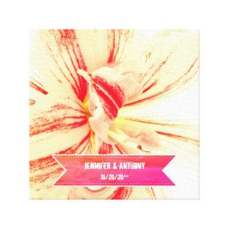 Gestreifte Amaryllis-Blumen-kundenspezifische Leinwanddruck