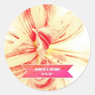 Gestreifte Amaryllis-Blumen-kundenspezifische Runder Aufkleber