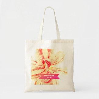 Gestreifte Amaryllis-Blumen-kundenspezifische Tragetasche