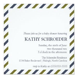 Gestreifte Babyparty-Einladungs-Schablone Quadratische 13,3 Cm Einladungskarte