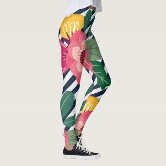 Gestreifte Blumengamaschen Leggings