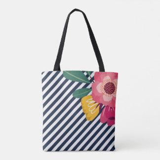 Gestreifte BlumenTasche Tasche