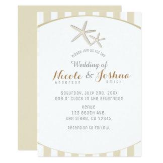Gestreifte moderne minimale Strand-Hochzeit 12,7 X 17,8 Cm Einladungskarte