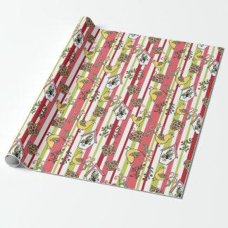 Gestreifte Paisley-Weihnachtsverpackung Geschenkpapier
