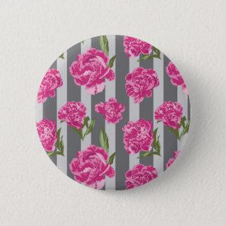 Gestreifte Pink-Pfingstrosen-nahtloses Muster Runder Button 5,1 Cm