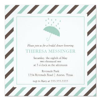 Gestreifte Regenschirm-Brautparty-Einladung Quadratische 13,3 Cm Einladungskarte