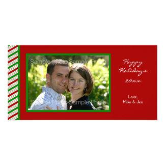 Gestreifte WeihnachtsFoto-Karte Fotokartenvorlagen