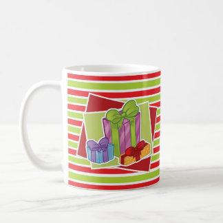 Gestreifte WeihnachtsTasse w/Presents Tasse