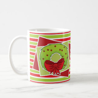 Gestreifte WeihnachtsTasse w/Wreath Kaffeetasse