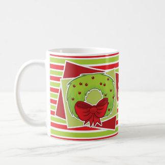 Gestreifte WeihnachtsTasse w/Wreath Tasse