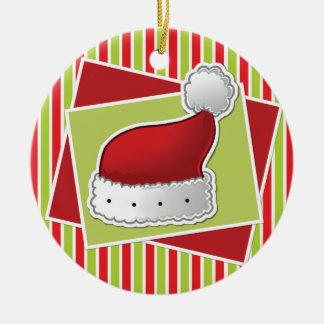 Gestreifte Weihnachtsverzierung w/Hat Rundes Keramik Ornament