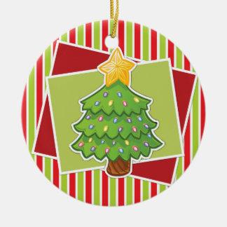 Gestreifte Weihnachtsverzierung w/Tree Rundes Keramik Ornament