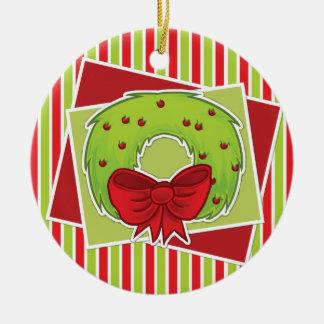 Gestreifte Weihnachtsverzierung w/wreath Rundes Keramik Ornament