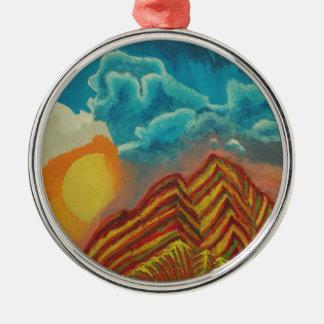 Gestreifter Berg Silbernes Ornament