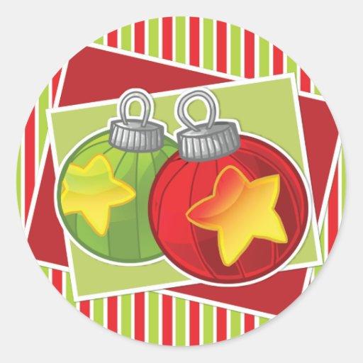 Gestreifter Weihnachtsaufkleber w/decoration Runde Aufkleber