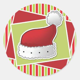 Gestreifter Weihnachtsaufkleber w/hat Runde Aufkleber