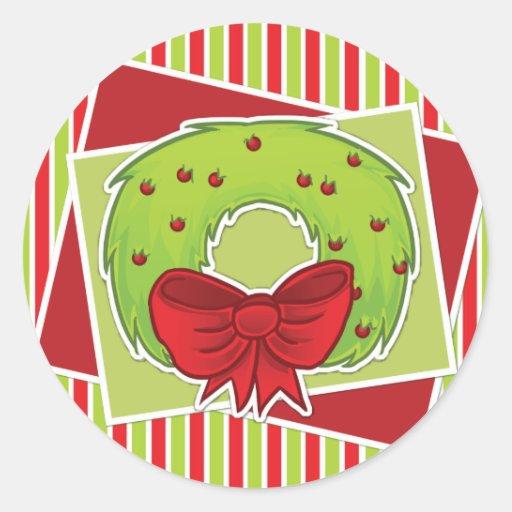 Gestreifter Weihnachtsaufkleber w/Tree Runde Aufkleber