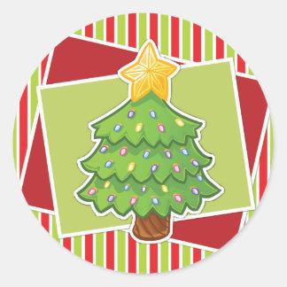 Gestreifter Weihnachtsaufkleber w/Tree Runder Sticker