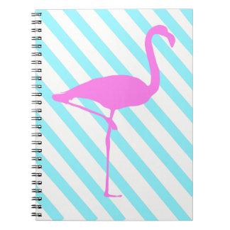 Gestreiftes Flamingo-Notizbuch Spiral Notizblock