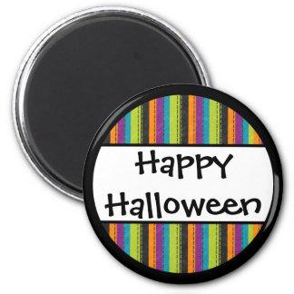 Gestreiftes glückliches Halloween Runder Magnet 5,7 Cm