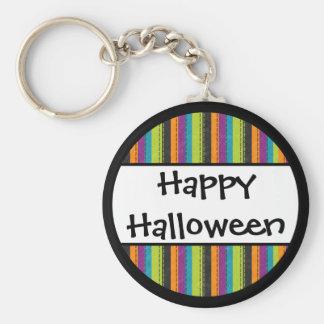 Gestreiftes glückliches Halloween Schlüsselanhänger