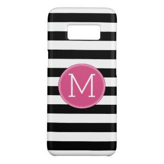 Gestreiftes Muster-Pink-Schwarzweiss-Monogramm Case-Mate Samsung Galaxy S8 Hülle
