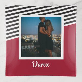 Gestreiftes Schwarz-weißes Foto-personalisiertes Dekoschale