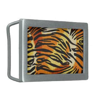 Gestreiftes Tiger-Pelz-Druck-Muster Rechteckige Gürtelschnallen