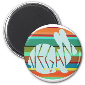 Gestreiftes veganes Häschen Runder Magnet 5,7 Cm
