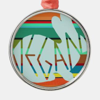 Gestreiftes veganes Häschen Silbernes Ornament
