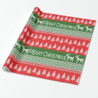 """Gestricktes Muster """"der frohen Weihnachten"""" Geschenkpapier"""