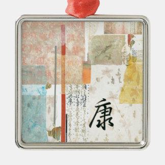Gesundheit Quadratisches Silberfarbenes Ornament
