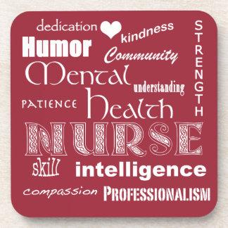 Gesundheits-Krankenschwester Stolz-Attribute+Herz Untersetzer