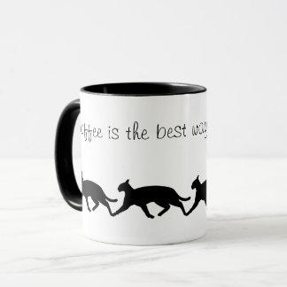 Get bewegliche Katzen-Silhouette-Kaffee-Tasse Tasse