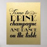 Getränk Champagne und tanzen | Wedding Zeichen Plakatdrucke