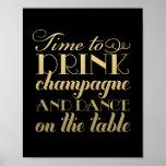 Getränk Champagne und tanzen | Wedding Zeichen Posterdruck