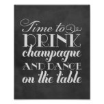 Getränk Champagne und tanzen | Wedding Zeichen Plakate
