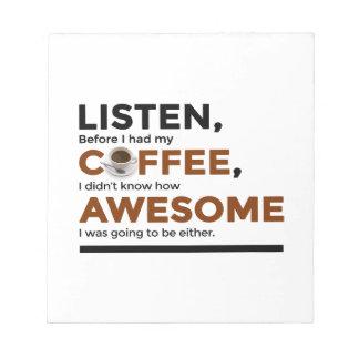 Getränk-Kaffee ist fantastisch Notizblock