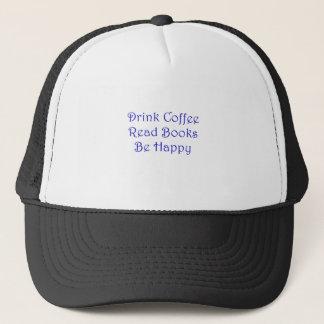 Getränk-Kaffee las Bücher ist glücklich Truckerkappe
