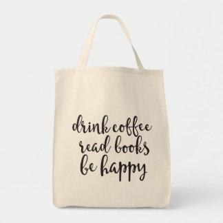 Getränk-Kaffee las Bücher ist glückliche Tragetasche