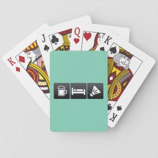 Getränk, Schlaf und Badminton Spielkarten