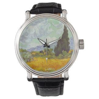 Getreidefeld mit Zypressen Armbanduhr