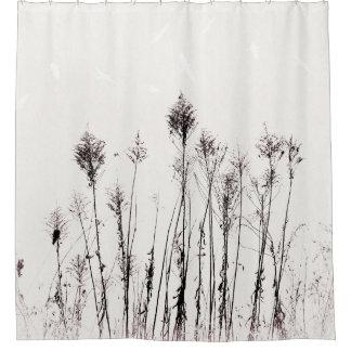 Getrocknete Ragweed-und Fliegen-Vögel untertrieben Duschvorhang