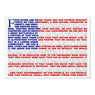 Gettysburg-Adresse laden ein 12,7 X 17,8 Cm Einladungskarte