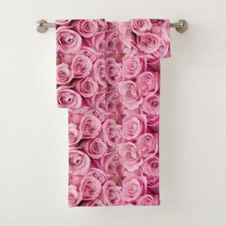 Gewaschen in den rosa Rosen Badhandtuch Set