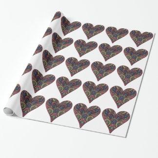 Gewebe-Collagen-Tapisserie-Liebe-Herzen Geschenkpapier