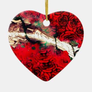 Gewehre und Rosen Keramik Ornament